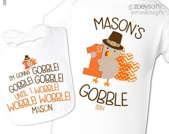 Baby's first thanksgiving outfit - matching bib and bodysuit / shirt set - 1st turkey day first thanksgiving