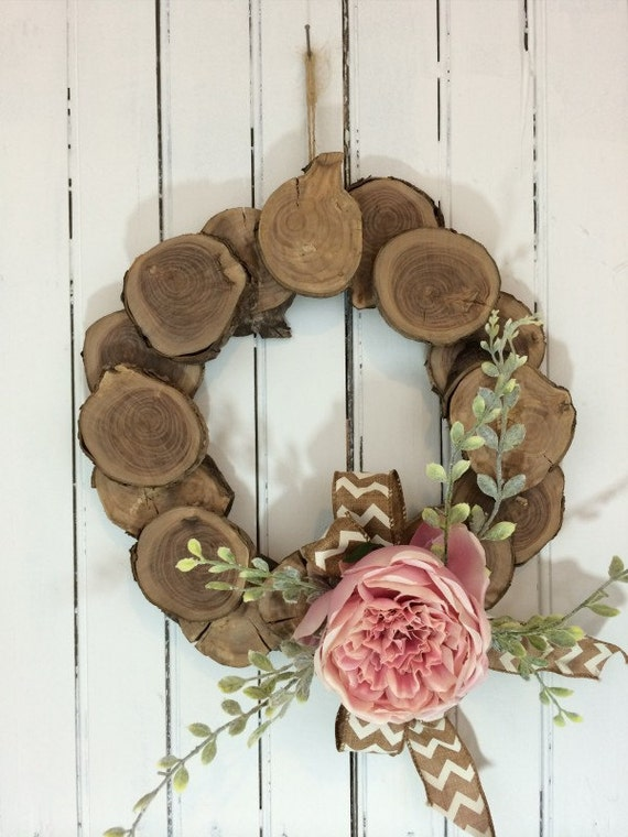 Items Similar To Wood Slice Wreath Pink Wedding Wreath