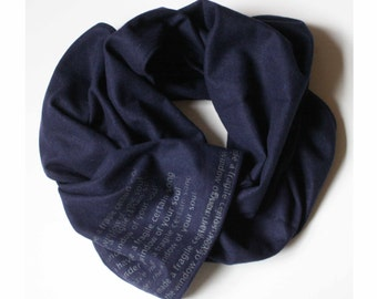 e.e. cummings Angora Scarf, Poetry Navy Blue Wool Scarf,  Women's Winter Scarves