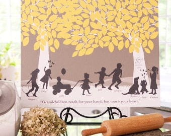 Silhouette Art, Gift for Grandparents, Grandchildren Art Print or Canvas- Personalized with Grandchildren Silhouettes // H-F05-1PS HH9