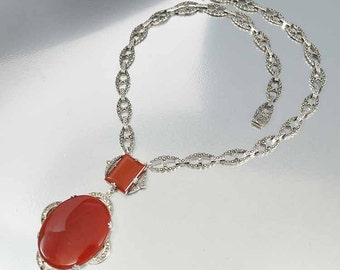 Carnelian Marcasite Necklace, Art Deco Necklace, Sterling Silver Carnelian Necklace, Vintage 1920s Antique Jewelry, Red Pendant Necklace