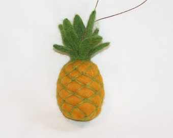 Christmas Ornament - Needle Felted - Miniature Pineapple - Felted Fruit Ornament - Christmas Gift - Holiday Decoration - Mini Pineapple