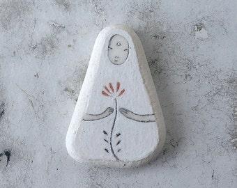 White Beach Pottery Bodhisattva Kuan Yin - The Bodhisattva of Compassion - Flower, Meditation, Calm, Peaceful