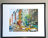 "Framed 8x10 NYC Print ""Westside Cabs""  Mat black metal Frame Included.  Ready to Hang, by Gwen Meyerson"