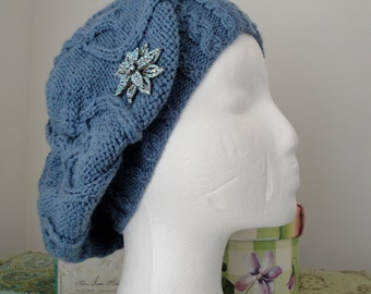 Cabled Hearts Hat w/vintage star brooch