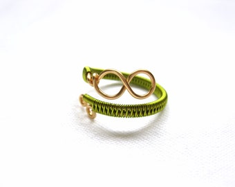 Peridot And Gold Infinity Ring - Two Tone - Adjustable Wrap Around Ring