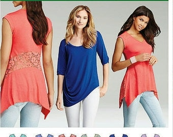 Misses' Knit Tops in Two Styles - Multi Sizes: 4-26, Simplicity 1198 Sewing Pattern - Casual Womans Knit Tops - Easy Sewing Pattern XXS- XXL