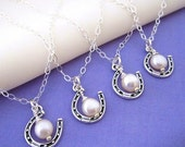 Four or more Bridesmaids' Necklaces - Lucky Horseshoe and Pearl