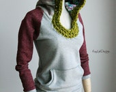 Women's sweatshirt hoodie / Cotton hoodie / crochet hoodie - KT568