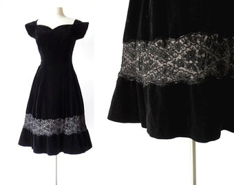 1950s Party Dress | Black Velvet Dress | 50s Vintage Dress | Small S