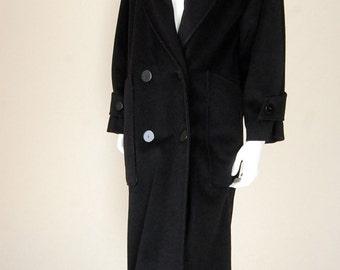 Full Length Wool Coat Vintage 60s Black Wool Double Button Draped Full Length Winter Coat  (l xl)