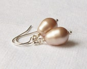 Beige Pearl Drop Earrings