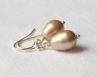 Beige Pearl Earrings, Bridesmaid Jewelry Gift, Champagne