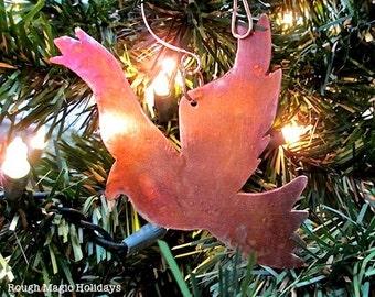Raven Peace Bird, Copper Christmas Ornament, Xmas Tree Decoration, Eco Friendly Holiday Decor