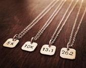 Running Necklace, Handmade Sterling Silver Charm 5K, 10K, 13.1, 26.2, 50K, 62.1, 100k Half-Marathon, Marathon, Ultrarunning