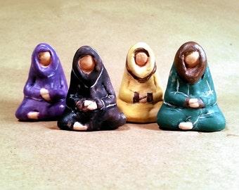 Colorful Meditating Monks - Ceramic Miniature Figurative Sculpture