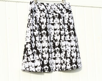 In Crowd Faces Black/White A-Line Skirt, Simple A-line Skirt, Mod Skirt, Black and White Skirt, Custom Made, You choose Fitted, Comfy, Loose