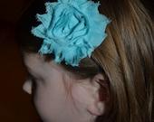 Aqua or Hot Pink Shabby Chiffon Rose Hair Flower Clip - Rosette