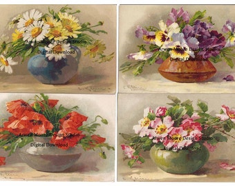 Lot 4 Shabby Vintage Chic Victorian Postcard Klein Collection Beautiful Lush Floral Vase Digital Download Images - dg-Klein-18