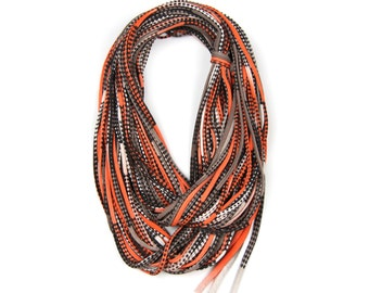Infinity Scarves, Statement Necklace, Gift for Her, Orange and Brown Scarf, Winter Scarf, For Her, Fashion Accessories, Birthday, Gift Ideas