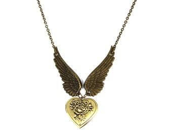 Engraved Heart Locket Necklace, Angel Wing Necklace, Rose Locket, Personalized Locket, Name Necklace, Anniversary Gift, Gold Locket Necklace