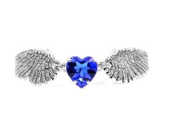 Angel Wing Bracelet, Sapphire Bracelet, Stainless Steel Bracelet, Angel Wing Jewelry, Blue Angel Wing Bracelet, Blue Heart Bracelet