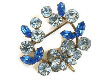 Austria Rhinestone Circle Brooch or Pendant Layered Dark & Light Blue Floral Vintage