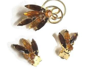 Vintage Amber & Topaz Rhinestones Swirl Flower Brooch or Pin and Earrings Demi Parure Set