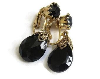 Vintage Black Rhinestone Dangle Earrings