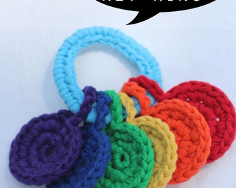 pattern for crochet handheld rainbow baby key ring toy by yourmomdesigns (pdf file) montessori and eco friendly