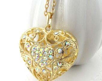Gold Filigree Heart with Crystal Aurora Borealis Rhinestones