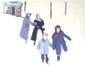 Snow Storm print- print of acrylic painting /  Big paper print - woman and child - Art Poster Illustraton -Digital Prints