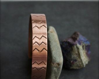 Oxidized Patina Chevron Cuff Bracelet Textured Copper Linear Tribal Mens Unisex Jewelry