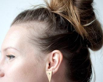 OPAL TAPER EARRINGS / opal triangle post stud earrings