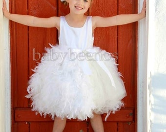 Flower Girl Dress, Feather Dress, Tulle dress, party dress - France - Made to Order Girls Sizes - Girls Sizes - 12m, 2t, 3t, 4t
