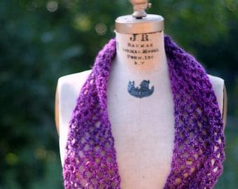 Infiinity scarf purple lacy winter scarf
