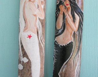 Pair of Fantasy Mermaids -Hand Painted Mermaids-- White & Black- Mermaid Art- Coastal Decor bathroom decor