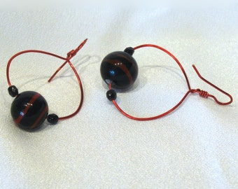 Earrings: Hand Forged Red Hoops with Black Crystal and India Glass - E233