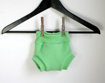 SMALL Nile green wool cover - merino wool interlock - hand dyed wool diaper cover - one to six months