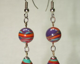 Color Swirl Earrings - Free Shipping within the U.S.