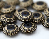 Etched Black Gold Acrylic Saucer Spacer Beads 17mm (16)