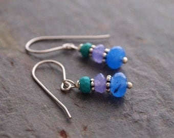 Turquoise, Lavender and Blue Jade Earrings