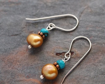 Sale- Turquoise and Gold Pearl Earrings