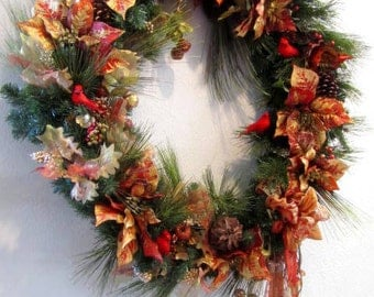 XL Asymetrial Victorian Christmas Wreath Home Decor in Burnt Orange, Red Berries, Cardinals with long beaded fringe bow with fancy trim