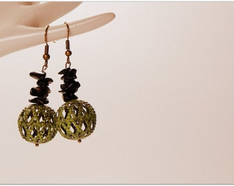 SALE! Filigree Hand Painted Green Ball Shaped Boho Style Earrings With Small Obsidian Chip Beads, Vintage Style