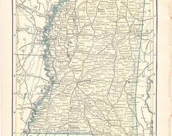 1910 State Map Mississippi - Vintage Antique Map Great for Framing 100 Years Old