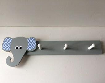 Blue and Gray Elephant Coat Rack, Elephant Nursery Decor, Elephant Kids Decor, eco friendly