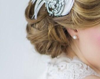 Art deco wedding headpiece feather clip wedding bridal crystal diamante Downton Abbey Art Deco style vintage wedding hair accessories