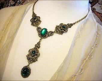 Emerald Renaissance Necklace, Green, Medieval Jewelry, Medieval Costume, Tudor Garb, Victorian, Bridal, Wedding, Bridesmaid, Avalon