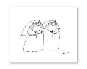 Wedding Card - Cat - Bride and Bride